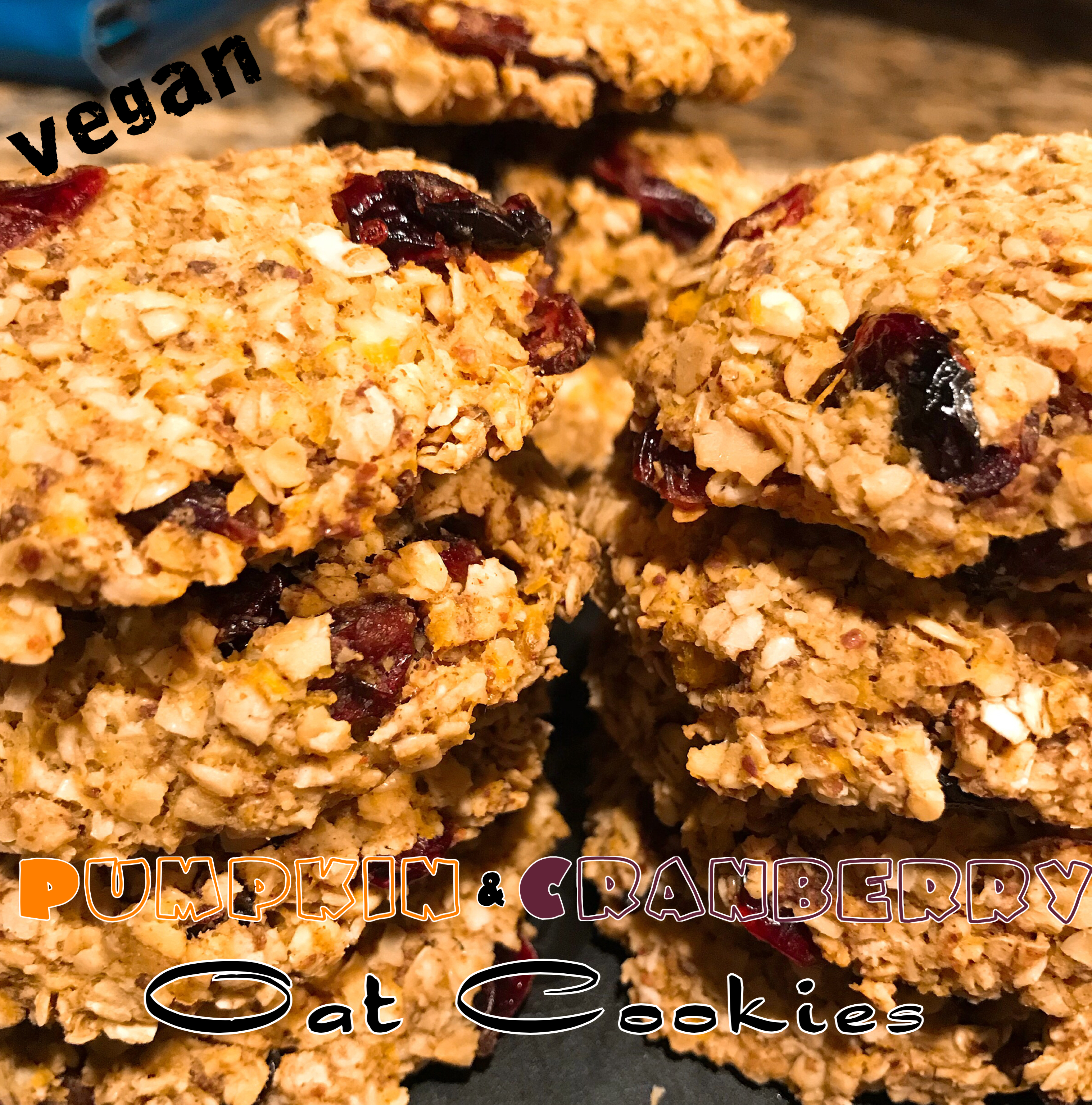 Vegan Breakfast Pumpkin & Cranberry Oat Cookies