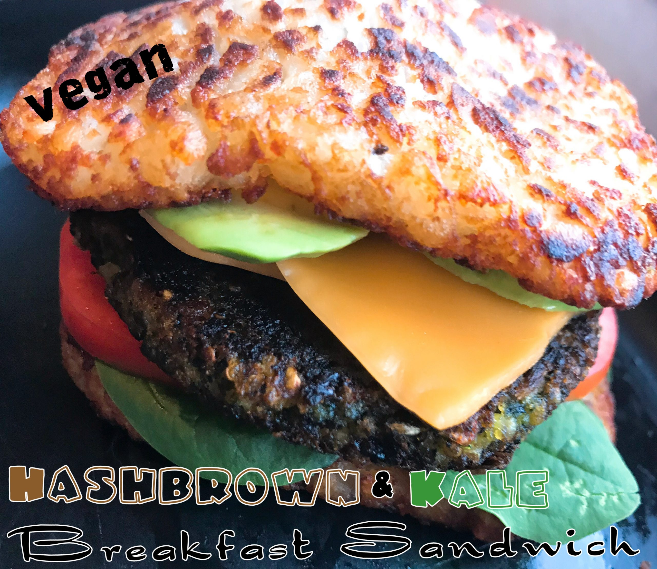 Vegan Hashbrown Kale Breakfast Burger