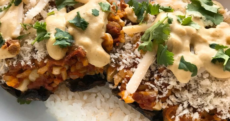 Vegan Cheesy Soyrizo Stuffed Portobellos