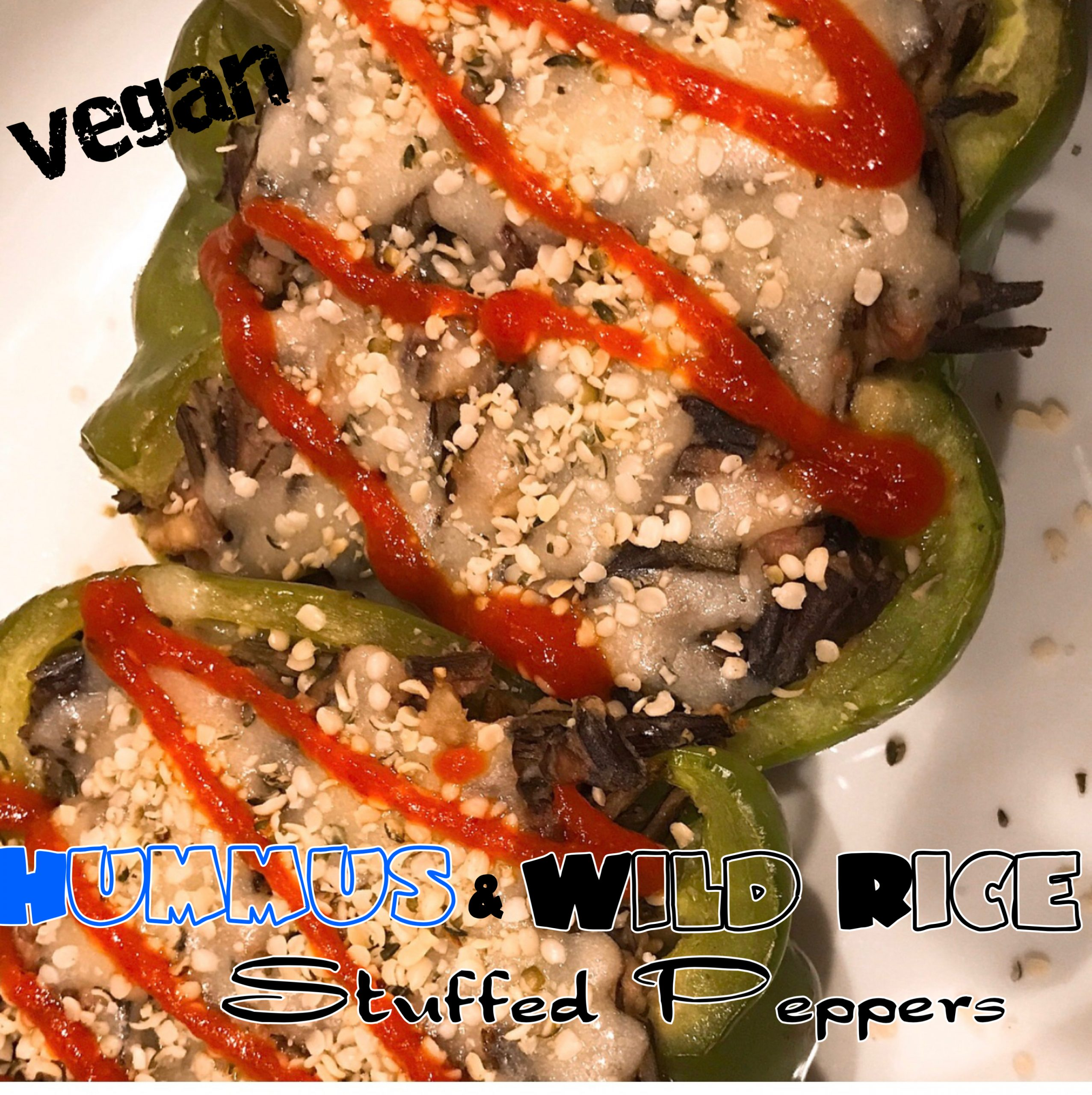 Vegan Hummus & Wild Rice Stuffed Peppers