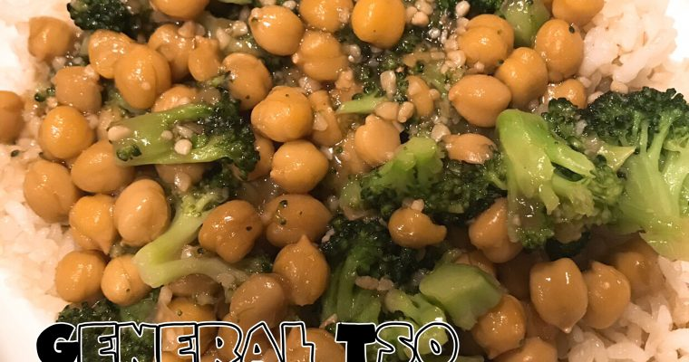 Vegan General Tso Chickpeas & Broccoli