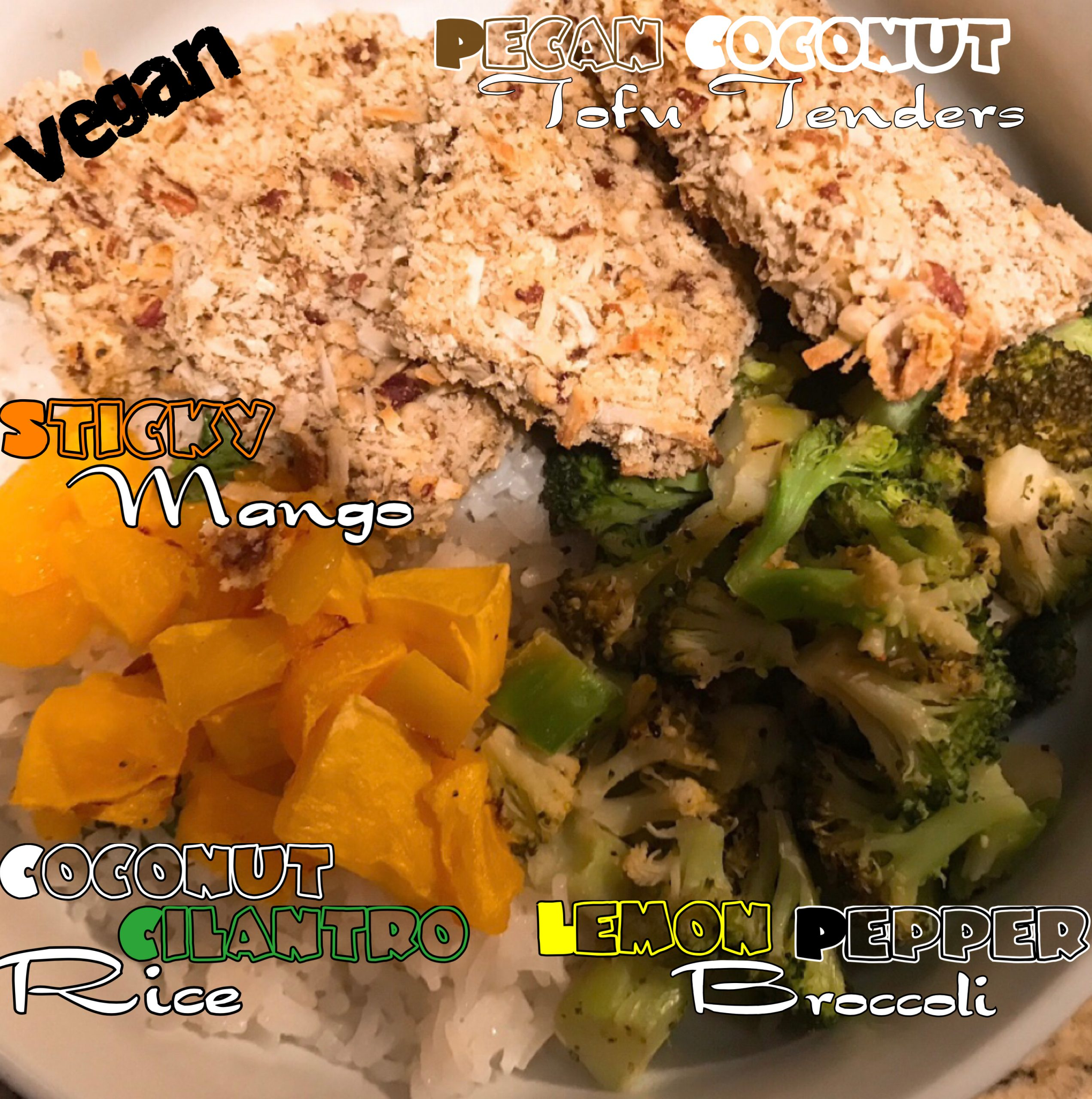 Vegan Pecan Coconut Tofu Tenders with Lemon Pepper Broccoli, Sticky Mango & Coconut Cilantro Rice
